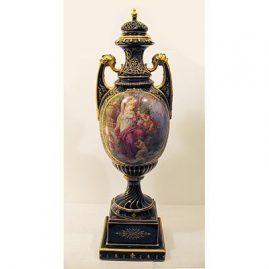 "Large Royal Vienna urn, with lady & cherub, cobalt blue & gold, late 19th century, 27"" tall by 9""wide, Sold"