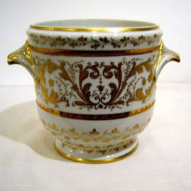 Le Tallec de Paris jardinaire or cache pot with profuse raised gilding, 10 1/2 inches wide by 7 1/4 inches tall. Sold