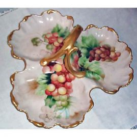 Limoges 3 section grape serving dish, Tressemann and Voyt, 1892-1907, sold
