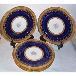 6 Limoges dinner plates, Guerin, ca-1900-1932, 11 inches, sold