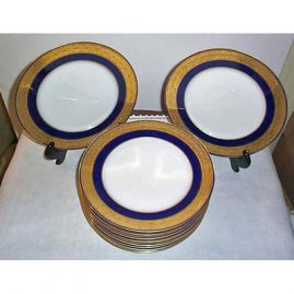 11 Limoges, Charles Ahrenfeldt, dinner plates  made for Richard Briggs, 9 3/4 inches, Sold