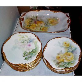 "Limoges dessert set, Jean Pouyat, signed S.R. Guyda, 1904, platter-16"", 12 plates-8 1/2"", each painted differently, Sold"