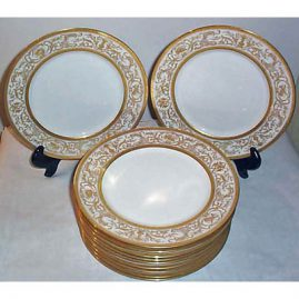 Limoges dinners with raised gilting, Charles Ahrenfeldt, ca-1894-1930, 9 3/4 inches, Sold