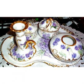 Limoges 5 piece violet dresser set, 3 dresser boxes, candlestick and tray, sold