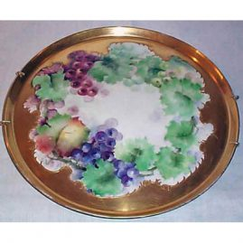 Limoge grape plaque, Tressemann & Voyt, artist signed, 13 1/2 inches, Sold