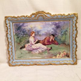 Limoges Porcelain plaque with scene of lovers, artist signed. Circa-1890s-1900. Size-14 inches wide by 10 1/2 inches tall. Price on Request.