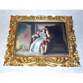 """Limoges porcelain plaque of lovers, signed Stickney, Tressemann & Voyt, 12 1/2 by 10 """", sold"""
