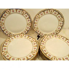 Set of fourteen William Guerin Limoges dinner plates, in Sevres style decoration, with raised gilding, diameter 10 3/4 inches, Sold