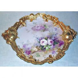 Limoges rose plaque in rare form, 15 1/4 inches, sold