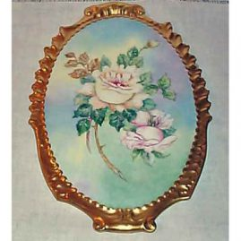 Limoges rose plaque, 13 1/4 inches long, sold