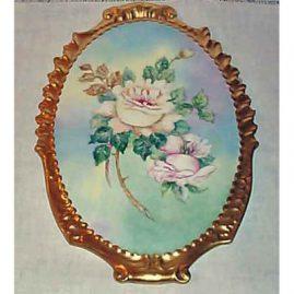 Limoges rose plaque