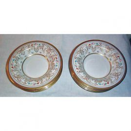 10 Limoges wide rim soup bowls, William Guerin, 1900-1932, raised gilting, 8 inches, Sold