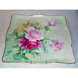 Limoges rose plaque, Jean Pouyat, around 1900s, 13 by 12 inches, sold