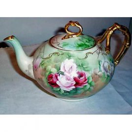 Limoges teapot with roses, Jean Pouyat, ca-1900, sold