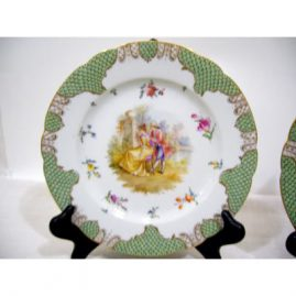 "One of 8 Dresden luncheon or dessert plate with scenes of lovers. Each plate is painted differently with different scenes of lovers, diameter- 8 3/4"", lamb Dresden, Sold."