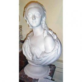 Bisque bust signed Pajou of Madame du Barry, attributed to Sevres, interlaced Ls mark, 25 inches tall, Sold