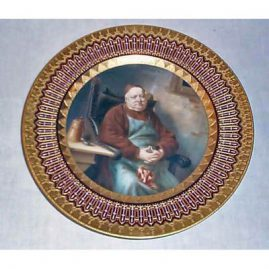 Royal Vienna plate of monk, underglaze blue beehive mark