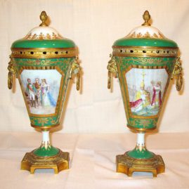 "Pair of ""Sevres"" urns depicting the marriage of Napoleon and Josephine,"