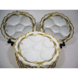 Nine Haviland Limoges oyster plates with lily of the valley decoration, ca-1890s-1900, 9 inches, Sold