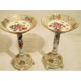 Rare pair of tall Potsnappel Dresden reticulated compotes, circa-1913, Height- 11 inches, circumference-6 5/8 inches. Sold.