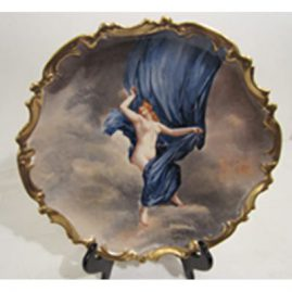 Rare Limoges plaque of beautiful lady, artist signed Dubois, Diameter 12 inches. Sold