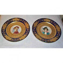 Royal Vienna pair of cobalt portrait plates, beehive mark