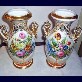 Pair of Paris Porcelain vases, beautifully painted, 14 inches tall, 1880s-1890s, sold