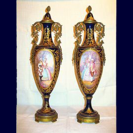 "Pair of ""Sevres"" cobalt urns beautifully painted with scenes of lovers, artist signed, 20"" tall, SOLD"
