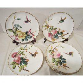 Set of eight rare George Jones late 19th century hummingbird and rose plates