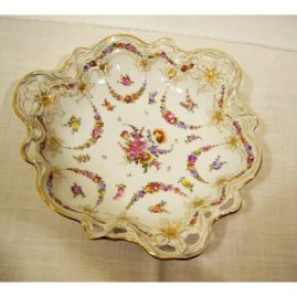 "Potsnappel Dresden bowl with openwork edges and raised flowers, 12"" diameter, ca-1913-1920, Sold."