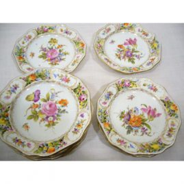 "Set of 10 Potsnappel Dresden reticulated breads,ca-1913-1920, each painted with different bouquets of flowers, 6 3/8"", Sold"