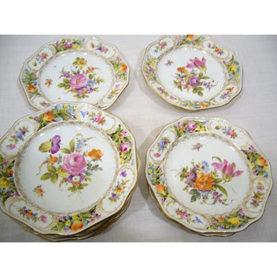 Set of 10 Potsnappel Dresden reticulated breads