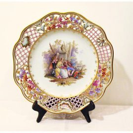 Dresden fabulous scenic  reticulated charger, ca-1900, Sold