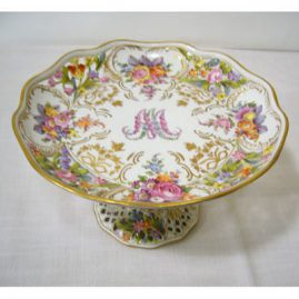 Potsnappel Dresden reticulated compote with hand painted flowers, ca-1913-1920, Sold
