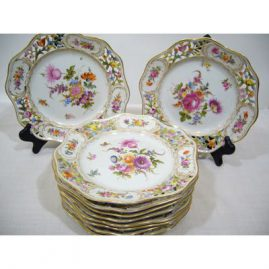 "Set of 10 Potsnappel Dresden reticulated luncheon or dessert plates, all painted with different bouquets of flowers, circa-1913-1920 , diameter- 8 1/2"", Sold"