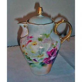 Limoges chocolate pot, Martial Redon, painted with roses, Sold