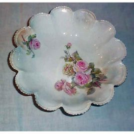 R.S. Prussia bowl, pearl white with pink roses, 10 1/4 inches, sold