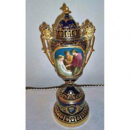 Royal Vienna tall urn, 19 inches tall, underglaze beehive mark, Augustus & Cleopatra