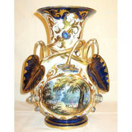 Paris Porcelain vase with beautiful scene in park with people and dog,