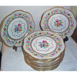 12 Schumann Bavarian reticulated dinner plates, 11 inches, ca-1930s, Sold