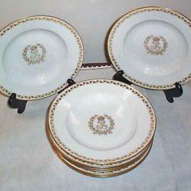 Eight Sevres Louis Philippe wide rim soups, 9 1/2 inches, ca-1846, Chateau de St Cloud, sold