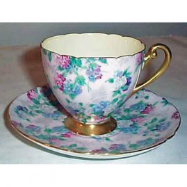 Shelley chintz cup and saucer set with irises, Sold