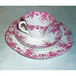 Shelley dainty pink 3 piece cup and saucer set,, sold, many other 3 piece sets available