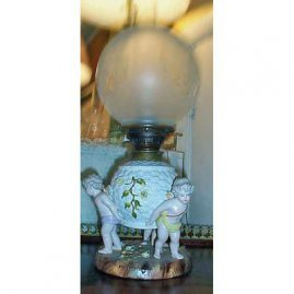 Sitzendorf figural  electified lamp with  3 cherubs with wings, ca 1880s-1890s, Sold