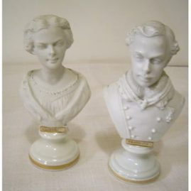 "Pair of Vienna bisque busts of Elizabeth and Franz-Jos the first, circa-1850s, 5 1/2"" tall, Price on Request."