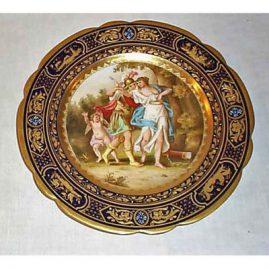 Royal Vienna cobalt plate, back titled Raub Der Dejeneura, signed Rieme