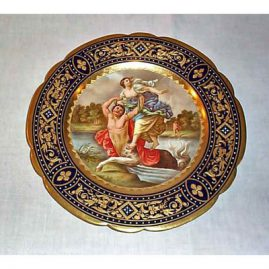 Royal Vienna plate signed Riemer, Archilles m Thetis, underglaze blue beehive mark, SOLD