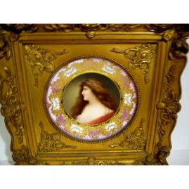 "Royal Vienna framed plate signed Wagner of Astana with intricate raised  gilding and blue jeweling,  framed-17"" by 17"", unframed 9 3/4"", Sold"