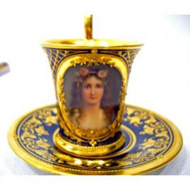 Royal Vienna portrait cup and saucer signed Wagner, Sold