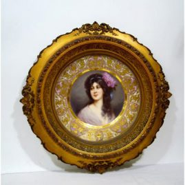 "Royal Vienna plate signed Wagner of  Amorosa with raised intricate gilding, framed-16"", unframed-9 3/4"", Sold"